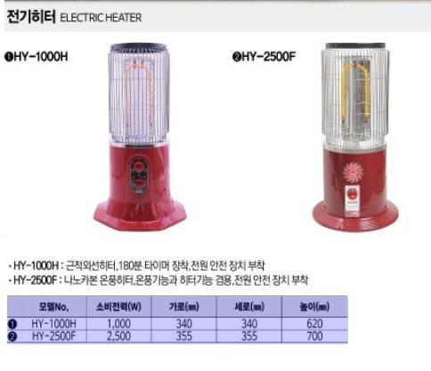 전기히터 HY-1000H 한양테크 제조업체의 난방기기/히터 가격비교 및 판매정보 소개